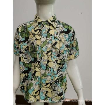 Kids cotton poplin print casual shirt