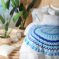 Wonderfully bohemian blue Mandala design Round beach towel BT-539 China Supplier