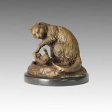Estatua Animal Escultura De Bronce De Gatos Madre-Hijo Tpal-085