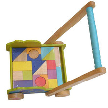 Kids Wooden Building Blocks Trolly For Custom