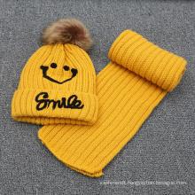 Kids Baby Unisex Children Boys Girls Winter Embroidery Beanie Hat Set Scarf (SK416S)