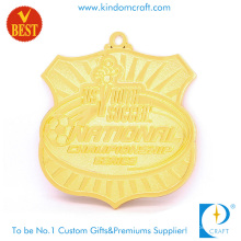 China Custom Supply Shield Shape Gold Plating 3 D National Soccer Medal in Zinc Alloy
