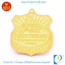 China Fornecimento Personalizado Escudo Forma Ouro Plating 3 D National Soccer Medal em liga de zinco