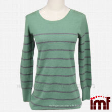 Stripe Green Cashmere Knit Sweater