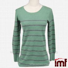 Полоса Зеленый кашемир вязать свитер