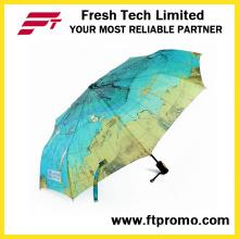 Mapa de OEM girassol guarda-chuva com logotipo de dobramento