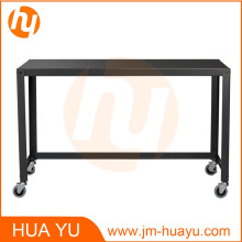 Powder Coat Office Furniture Black Metal Rolling Console Table