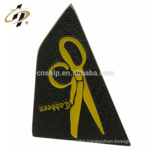 Wholesale cheap custom black nickel plating scissors shape badge magnetic lapel pin