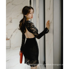 2020 spring new Korean style slim elegant lotus leaf perspective sexy backless lace bottoming skirt women dress