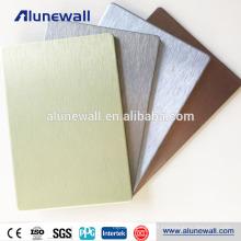 Folha de alumínio plástica escovada decorativa escovada cinzenta interior dos painéis de revestimento de ACM do ouro