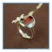 Fashion white gold backs red stone rings for women