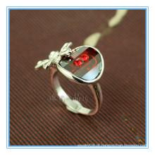 Moda ouro branco costas anéis de pedra vermelha para as mulheres