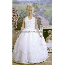 La vendimia appliqued rebordeó el halter V-neckline vestido de bola el desfile por encargo de la muchacha de flor viste CWFaf3914