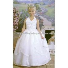 Robe de soirée à encolure en V à manches courtes à encolure en V Robes personnalisées à fleurs pour filles CWFaf3914