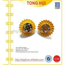 Metall 3D Sonnenblumen Souvenir Revers Pin / Badge mit Strass