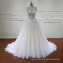A-Line 3D Blumen Spitze Perlen Brautkleider