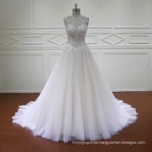 A-Line 3D flores de encaje rebordear vestidos de novia