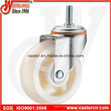 4 Inch Medium Duty Swivel White PP Caster with Threaded Stem