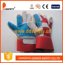 Luva de couro reforçada azul luvas de segurança de volta de algodão vermelho (dlc320)
