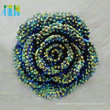 La venta caliente rebordea la flor plástica del rhinestone de la resina de la parte posterior