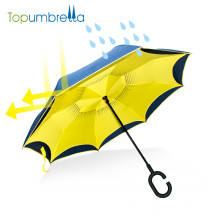 logo customize auto open inverted umbrella double layer