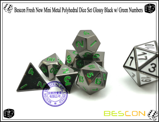 Bescon Fresh New Mini Metal Polyhedral Dice Set Glossy Black with Green Numbers-6