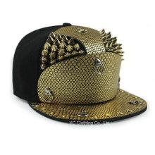 Snakeskin Armor Golden Rivets Flat Brimmed Hat