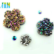 DIY flat back flower metal effect resin rhinestone