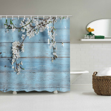 Blue Wood Plank Waterproof Shower Curtain White Flower Bathroom Decor with Hooks