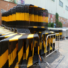 Powder coated yellow crowd control barrier