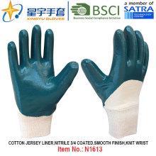Хлопчатобумажные трикотажные нитриловые защитные перчатки (N1613)