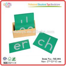 Montessori Sandpapier doppelte Buchstaben, Druck, mit Kasten