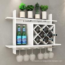 Estante de madera montado en la pared del vino de la botella de la exhibición del precio barato al por mayor para la decoración casera