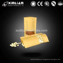Precio de fábrica para Embalaje de alimentos marrón bolsas de papel kraft blanco con ventana