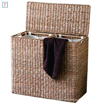 Oversized Divided Seagrass Fiber Laundry Hamper Storage Basket with Handles and 2 Removable Liners