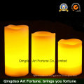 Beige Bisque grande encendida LED pila de cera sin llama Vainilla perfumada vela de pilar