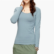 100% Cotton Soft Tight Blank Women Long Sleeve Shirts