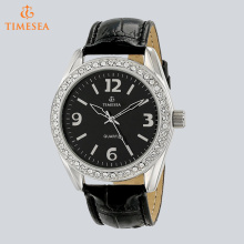 Mulheres de prata-tom de cristal acentuado couro pulseira relógio 71269