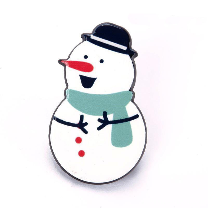 Blue Scarf Snowman Pin