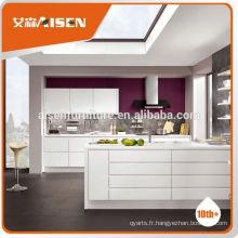 Cabinet de cuisine blanc brillant haute qualité laqué à haute qualité