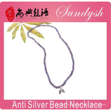 Unique Handmade Purple Raw Crystal Beaded 925 Leaves Charms Bracelet Necklace Beaded
