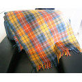 Machine Woven Color Plaid Lambwool Throw