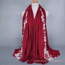 Wholesale Fashion Cotton Muslim Jersey Hijab Top quality flower pattern embroidery hijab shawl