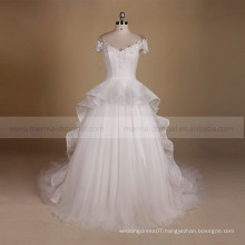 Graceful cap sleeve beautiful A line applique lace fairy shape wedding dress