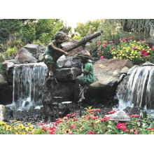 Uso de la decoración del jardín Diseños populares Escultura de bronce Estatua de la pesca del muchacho