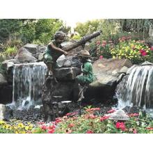 Decoração do jardim Uso Popular Designs Bronze Escultura Menino Pesca Estátua