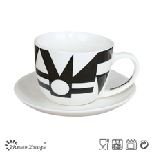 Black Simple Decal 3oz Cup & Saucer