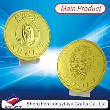 Médaille d'or commémorative personnalisée en métal Kwait / monnaie en relief Monnaie de souvenir Mémoires / monnaie en or avec cravate (LZY-1300001)