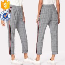 Contraste Tape Side Plaid Pants Manufacture Wholesale Fashion Women Apparel (TA3088P)