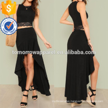 Lace Hem Tank Top With Maxi Skirt Manufacture Wholesale Fashion Women Apparel (TA4084SS)